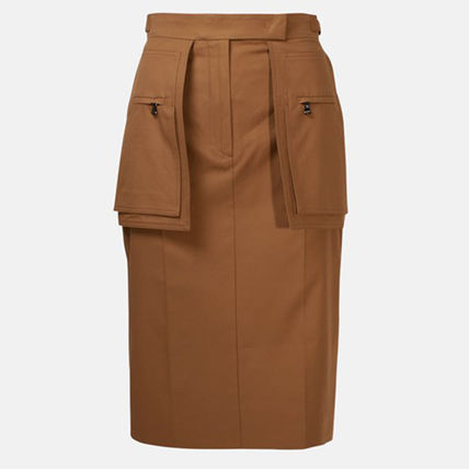 Pencil Skirts Casual Style Plain Cotton Medium Elegant Style