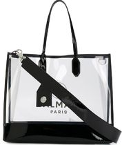 BALMAIN A4 2WAY Plain PVC Clothing Logo Totes