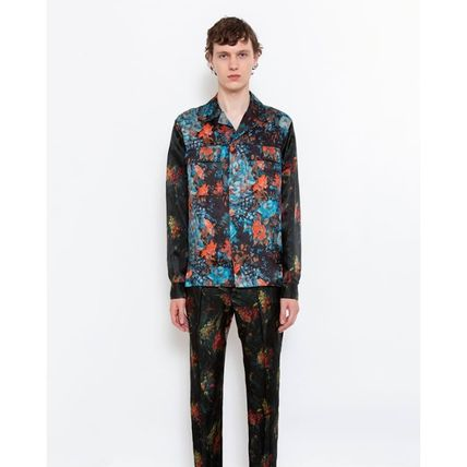 Button-down Flower Patterns Long Sleeves Designers Shirts