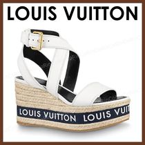 Louis Vuitton Monogram Open Toe Casual Style Leather