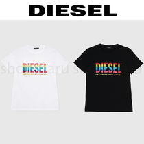 DIESEL U-Neck Cotton Short Sleeves Logo T-Shirts