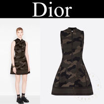 Christian Dior Short Camouflage Casual Style A-line Sleeveless Street Style