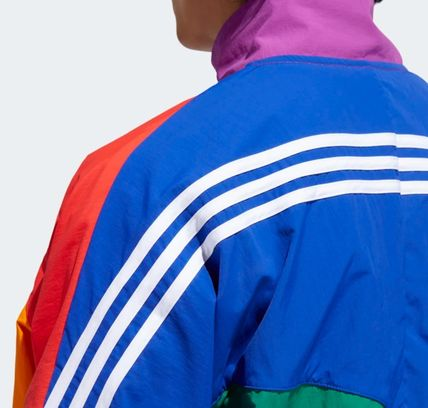 adidas Short Unisex Nylon Street Style Bi-color Plain Coach Jackets