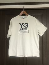 Y-3 Crew Neck Collaboration Plain Cotton Short Sleeves Logo