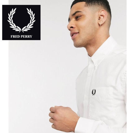 FRED PERRY Shirts Unisex Long Sleeves Cotton Logo Shirts