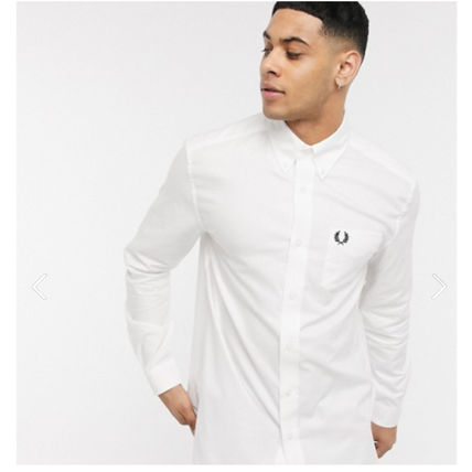 FRED PERRY Shirts Unisex Long Sleeves Cotton Logo Shirts 2