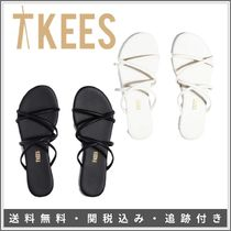 TKEES Monogram Open Toe Plain Toe Rubber Sole Lace-up Casual Style