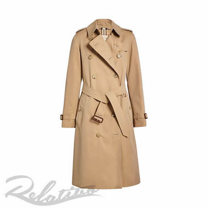 Other Plaid Patterns Plain Long Elegant Style Trench Coats