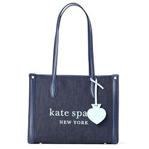 kate spade new york Casual Style Denim A4 Plain Leather Office Style Logo Totes