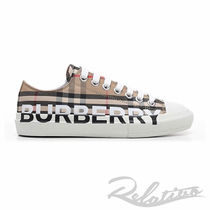 Burberry Other Plaid Patterns Round Toe Rubber Sole Lace-up