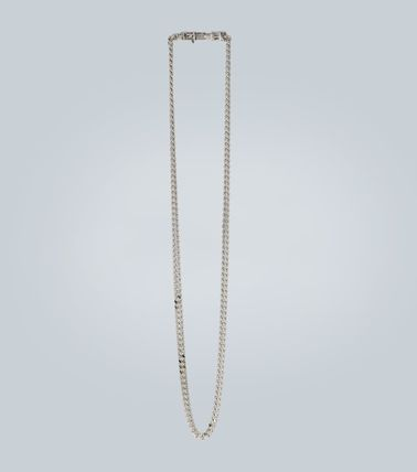 Unisex Street Style Chain Silver Logo Chain Necklaces