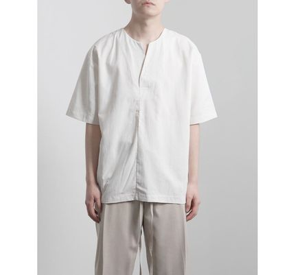 Plain Cotton Short Sleeves Oversized Shirts