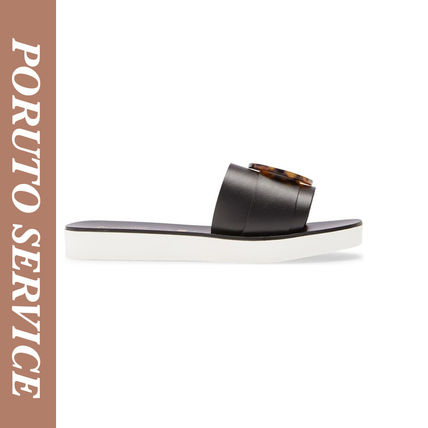 Casual Style Leather Logo Sandals