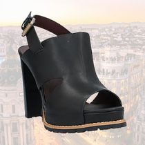 See by Chloe Round Toe Rubber Sole Casual Style Plain Leather