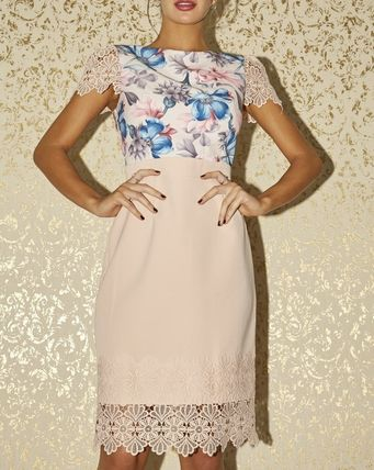 Flower Patterns Short Sleeves Party Style Lace Bridal