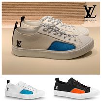 Louis Vuitton Monogram Unisex Blended Fabrics Plain Leather Logo Sneakers