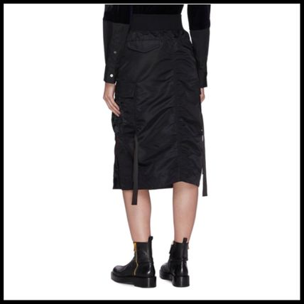 Pencil Skirts Casual Style Nylon Plain Medium Midi Skirts