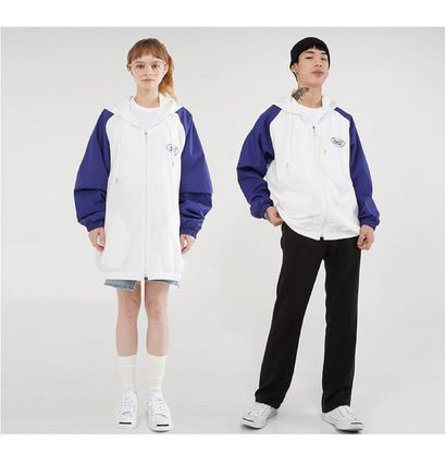 Unisex Street Style Bi-color Plain Medium Long Oversized