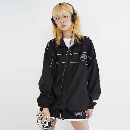 Unisex Street Style Plain Medium Long Oversized Logo Jackets