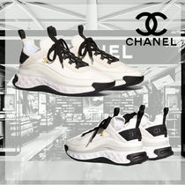 CHANEL Blended Fabrics Plain Dad Sneakers Logo Sneakers