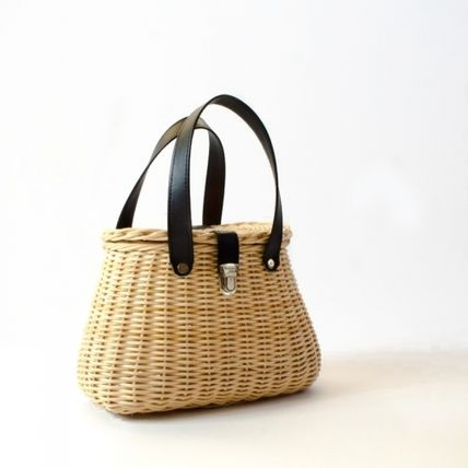 Faux Fur Blended Fabrics Straw Bags