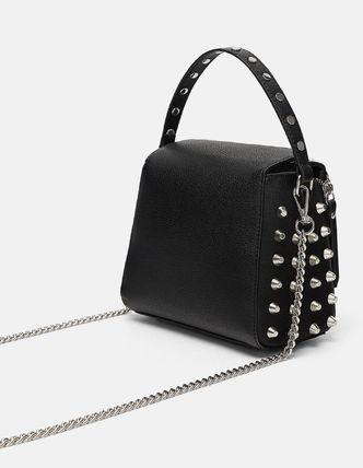 Casual Style Faux Fur Studded Handbags