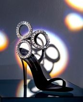 GIUSEPPE ZANOTTI Open Toe Pin Heels Party Style With Jewels Sandals Sandal