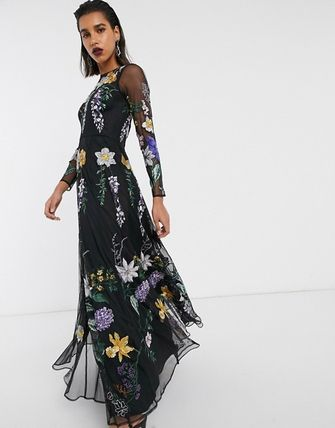 Flower Patterns Maxi Long Sleeves Long Dresses