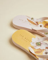 TED BAKER Flower Patterns Tropical Patterns Shower Shoes Flip Flops