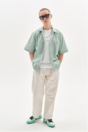 Street Style Cotton Short Sleeves Oversized Shirts