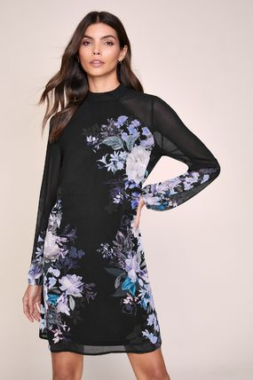 Crew Neck Flower Patterns Long Sleeves Medium Party Style