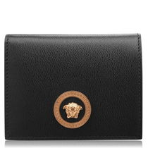 VERSACE Unisex Street Style Plain Leather Folding Wallet Logo
