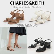 Charles&Keith Casual Style Faux Fur Plain Block Heels Party Style