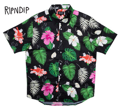 Flower Patterns Unisex Street Style Short Sleeves