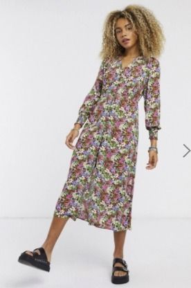 Flower Patterns V-Neck Long Sleeves Medium Midi