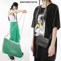 ANOTHERYOUTH Casual Style Street Style Plain Leather Crossbody Logo
