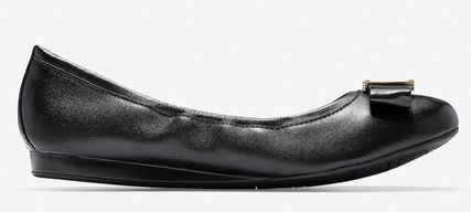 Cole Haan Platform Round Toe Rubber Sole Casual Style Plain Leather