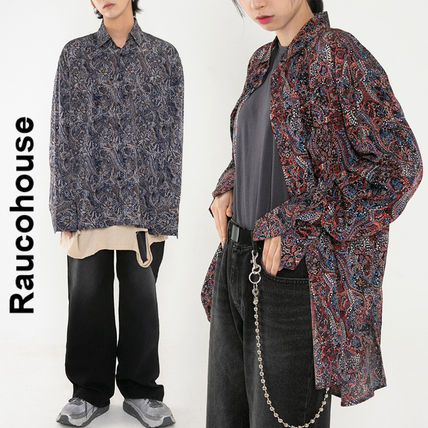 Raucohouse Shirts Paisley Unisex Street Style Collaboration Long Sleeves