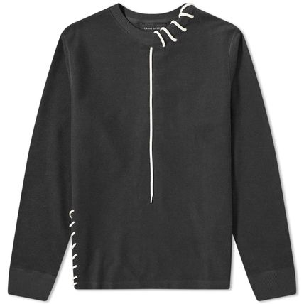 Unisex Street Style U-Neck Long Sleeves Plain Cotton