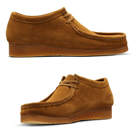 Moccasin Suede Blended Fabrics Plain Leather U Tips