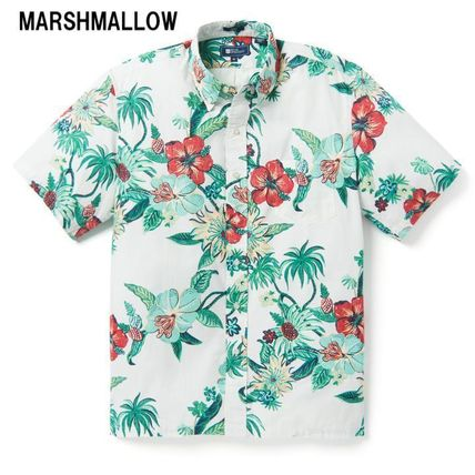 Flower Patterns Tropical Patterns Cotton Short Sleeves