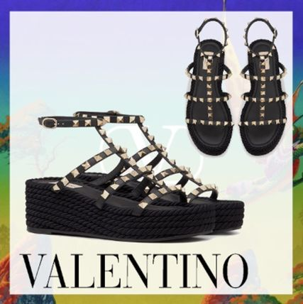 Casual Style Studded Leather Platform & Wedge Sandals