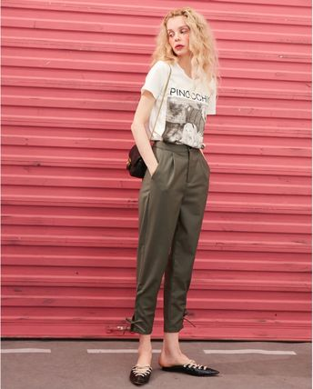 ELF SACK Casual Style Street Style Plain Medium Long Office Style