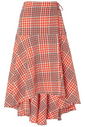 Flared Skirts Gingham Casual Style Street Style Cotton