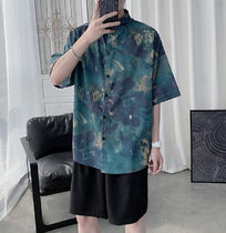 Flower Patterns Unisex Street Style Oversized Shirts