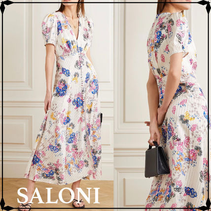 Flower Patterns Chiffon Silk Flared Street Style V-Neck