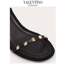 VALENTINO Open Toe Casual Style Blended Fabrics Studded Plain