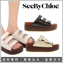 See by Chloe Open Toe Platform Rubber Sole Casual Style Plain Leather