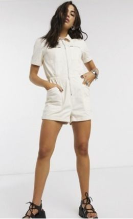 Short Casual Style Plain Cotton Short Sleeves Dresses
