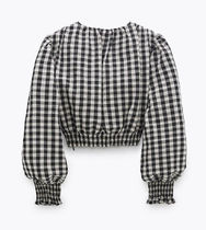 ZARA Gingham Casual Style Tops